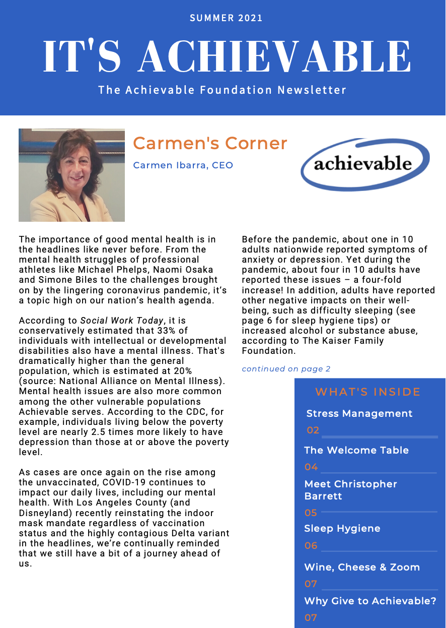 page 1 of The achievable foundation newsletter